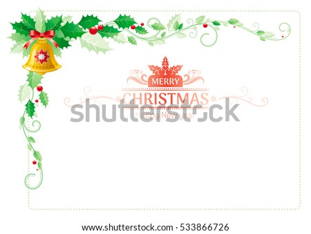 merry christmas happy new year border corner holiday decoration pattern isolated white holly