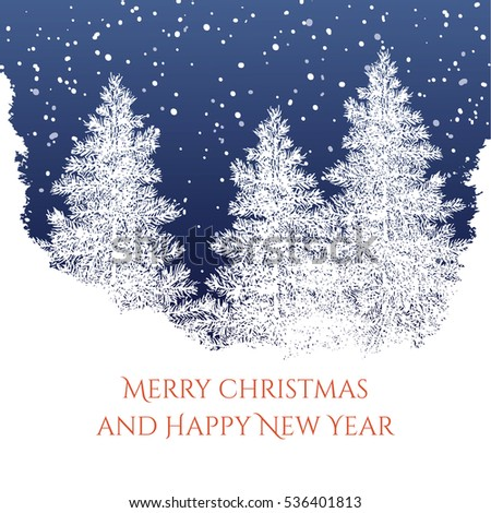 merry christmas and happy new year card with hand drawn snowy scenery greeting card in