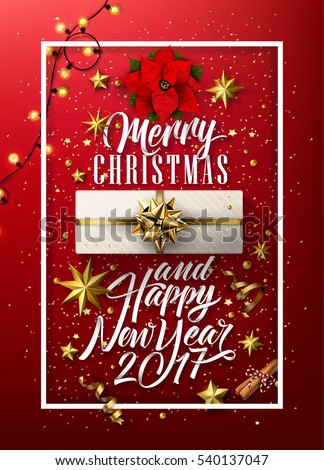 merry christmas and happy new year everyone vintage background with typography and elements