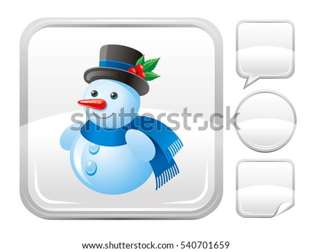 merry christmas happy new year snowman icon isolated on white background vector illustration metallic