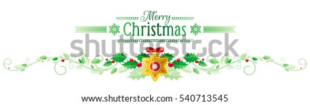 merry christmas happy new year horizontal border banner holly berry gold star decoration