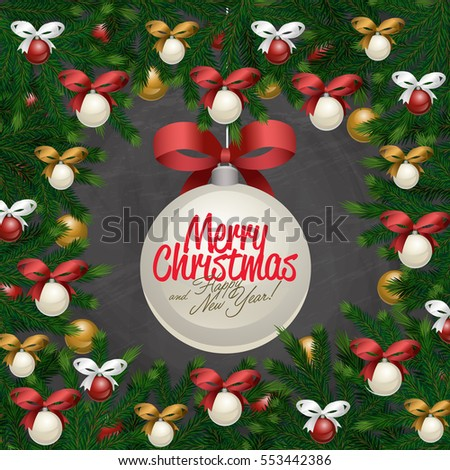 merry christmas and happy new year greetings vector illustration xmas ball with bow and greeting