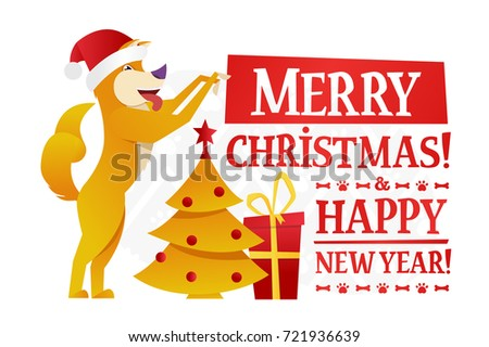 merry christmas and happy new year postcard template with the cute yellow dog with the red