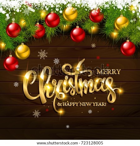 merry christmas and happy new year greeting card on wooden background vector illustration