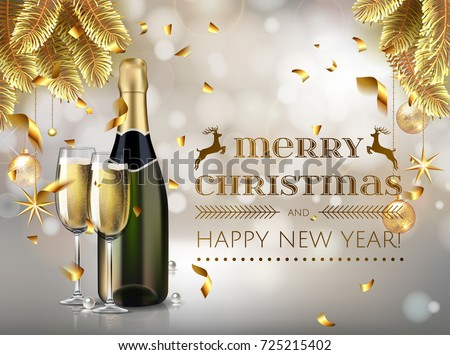 merry christmas and happy new year champagne bottle and glasses stock vector illustration in realistic style