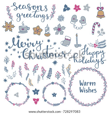 merry christmas and happy new year set of elements wreaths and lettering collection of