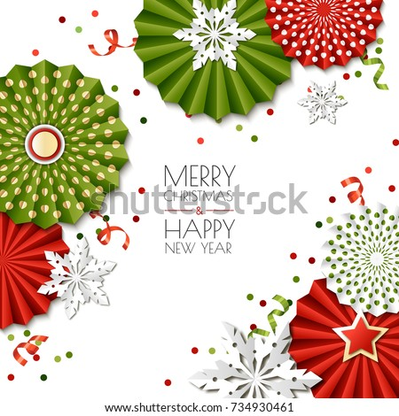 merry christmas happy new year greeting card vector paper stars and snowflakes in green