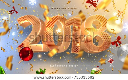 merry christmas and happy new year 2018 decorations greeting card vector template gold foil