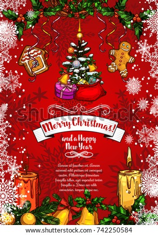 merry christmas and happy new year wishes sketch greeting card for winter holidays vector christmas