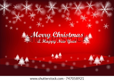 merry christmas and happy new year gift and elements on red background greeting card xmas