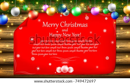 merry christmas and happy new year postcard or invitation to the winter theme on the