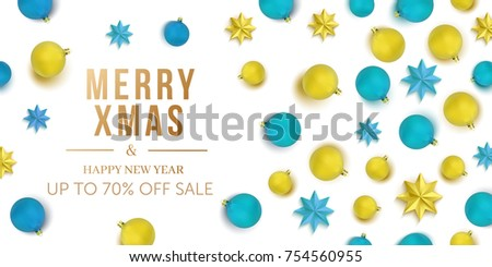 merry christmas and happy new year sale background banner with balls and stars pattern wallpaper