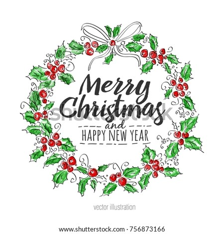merry christmas and happy new year greeting wreath with lettering vintage watercolor vector illustration