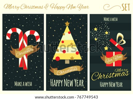 merry christmas and happy new year card collection christmas tree candy and opened gift