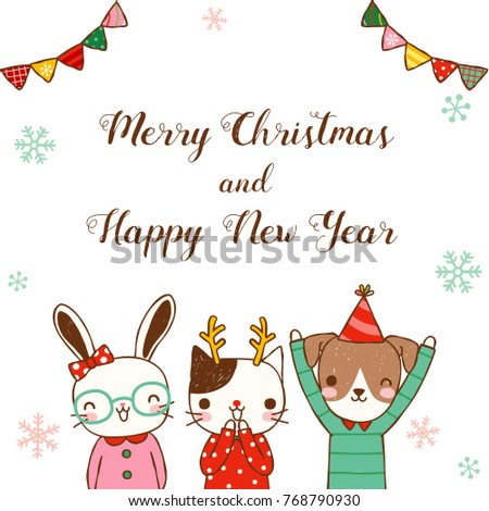 merry christmas and happy new year greeting card with cute cartoon rabbit cat and dog