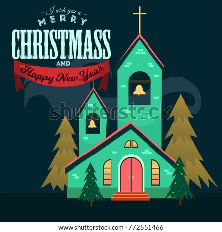 merry christmas and happy new year card church and green tree under snow christianity