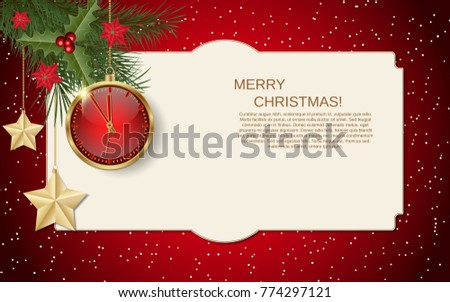 merry christmas and happy new year vector background with winter decor