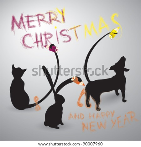 merry christmas and happy new year card dog cat and rabbit