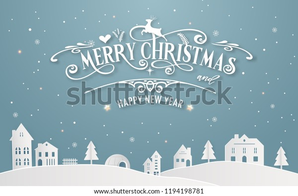 Merry Christmas Happy New Year Snowy Stock Vector (Royalty