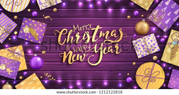 Merry Christmas and happy new year banner with Christmas decoration: colorful balls, purple and gold gift box, garland on wooden background. Xmas holiday greeting card, beautiful Christmas sale poster
