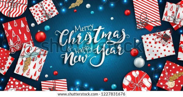 merry christmas happy new year banner stock vector royalty free 1227831676 https www shutterstock com image vector merry christmas happy new year banner 1227831676