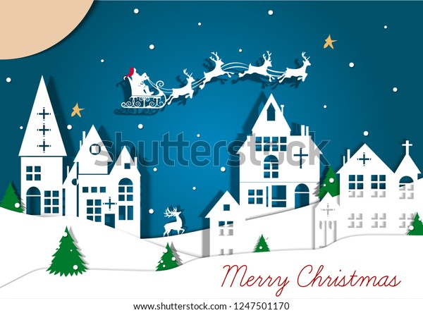 Merry Christmas Happy New Year Illustration Stock Vector Royalty Free 1247501170