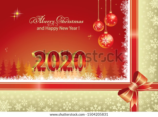 Merry Christmas Happy New Year 2020 Stock Vector Royalty Free 1504205831