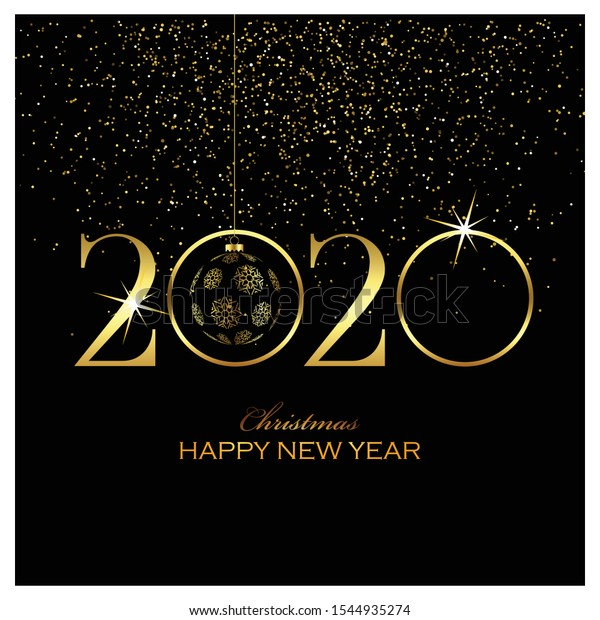 Merry Christmas Happy New Year 2020 Stock Vector (Royalty
