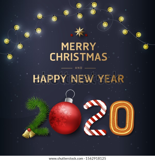 Merry Christmas Happy New Year 2020 Stock Vector (Royalty Free) 1562918125