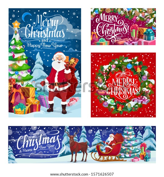 Merry Christmas and Happy New Year winter holiday Santa with gifts bag on reindeer sleigh. Vector Xmas tree wreath with decorations and ornaments in snow, holly and golden bell in snowflakes