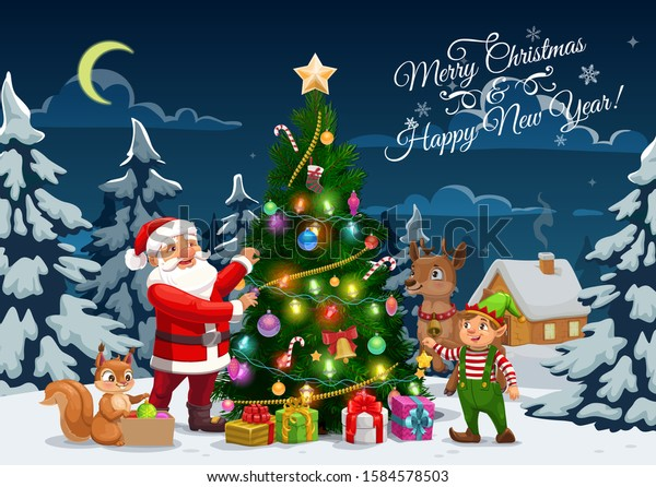 Merry Christmas and Happy New Year, winter holidays vector calligraphy greeting. Santa, elf and reindeer with squirrel decorating Christmas tree with Xmas lights, golden bell, gifts and ball ornaments