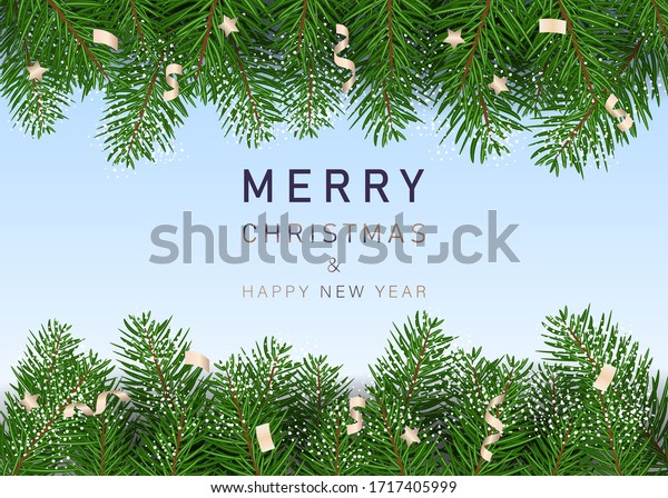 Merry christmas and happy new year. Winter holiday background. Fir needles garland, frame with streamers. Great for New year cards, banners, headers, party posters.