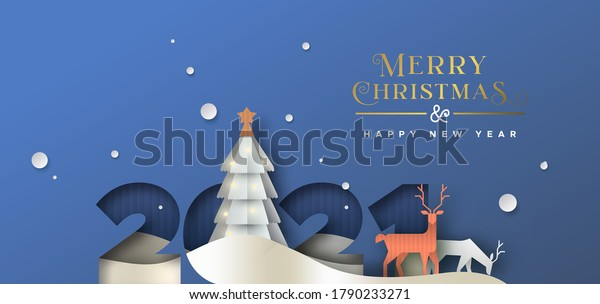 Merry Christmas Happy new year greeting card illustration. 2021 papercut number with winter forest landscape. 3D paper cut craft rein deer and pine tree scene for party invitation or holiday wishes.