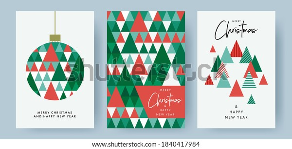 Merry Christmas and Happy New Year Set of greeting cards, posters, holiday covers. Modern Xmas design with triangle firs pattern in green, red, white colors. Christmas tree, ball, decoration elements