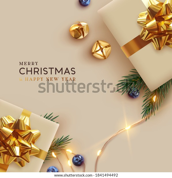 Merry Christmas and Happy New Year. Background Xmas design realistic gifts box, festive decorative objects. flat lay top view. Christmas poster, holiday banner, flyer, stylish brochure, greeting card