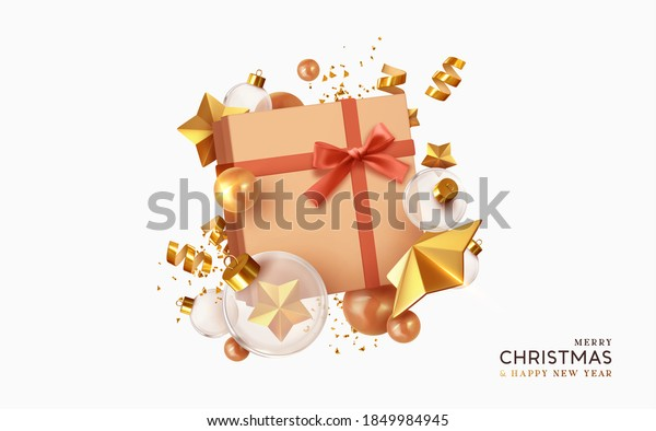 Merry Christmas and Happy New Year. Background with realistic festive gift box. Xmas present. Gold star, Golden Christmas baubles, glass round balls, glitter 3d confetti. Vector illustration