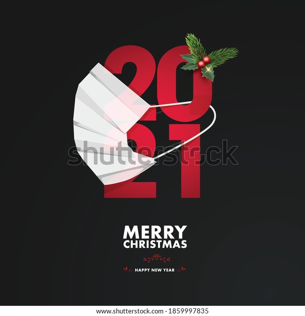 Merry Christmas and happy new year, 2021. Noel, banner, frame, header, background or greeting card design. Covid 19, protecting himself with a surgical mask. Pandemic, flu, corona.