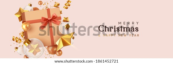 Merry Christmas and Happy New Year. Background with realistic festive gift box. Xmas present. Gold star, Golden Christmas baubles, glass round balls, glitter 3d confetti. headers for website