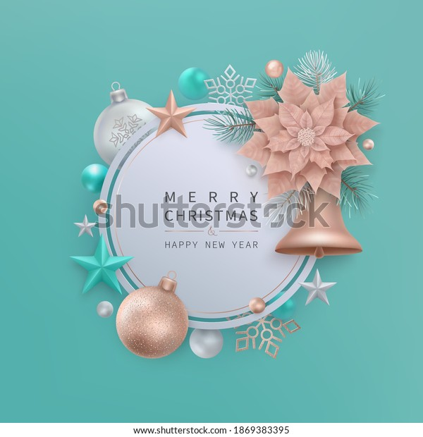 Merry Christmas and Happy New Year greeting card with bell, stars, balls, snowflakes. Round tag with copper color christmas flower Poinsettia, fir branches on a light background. Vector illustration.