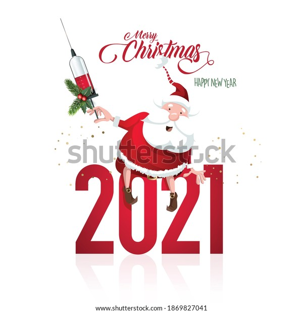 Merry Christmas and happy new year, 2021. Santa Caus, Covid-19 vaccine celebration. Noel banner header, background or greeting card design.