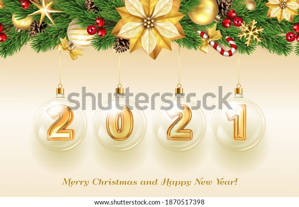 Merry Christmas and Happy New Year. Gold foil number 2021 in glass christmas ball decoration with fir tree. Realistic 3d render metallic sign. Celebrate festive party 2021. Xmas Poster, banner