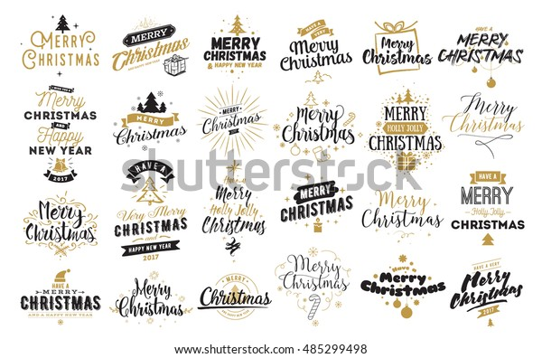 Merry Christmas. Happy New Year, 2017. Typography set. Vector logo, emblems, text design. Usable for banners, greeting cards, gifts etc.