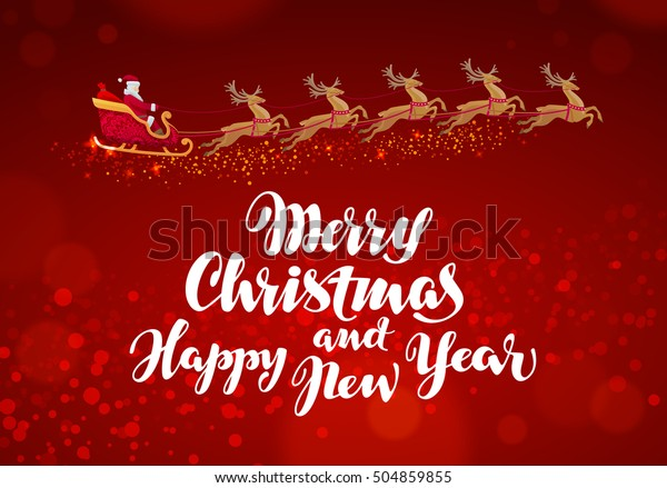 Merry Christmas and Happy New Year. Santa Claus rides in sleigh pulled reindeer. Vector greeting card