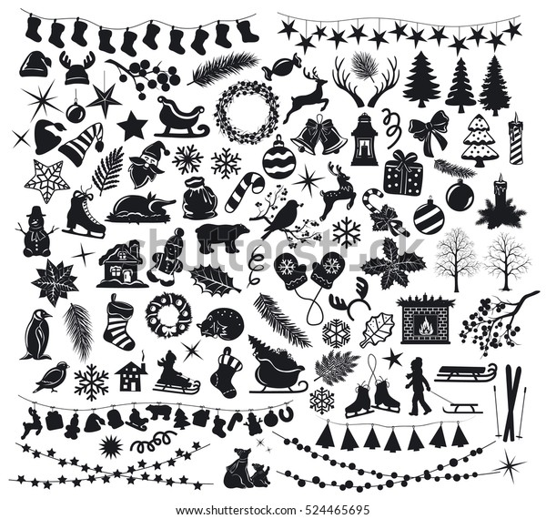 Merry Christmas and Happy New Year winter set collection of silhouettes with xmas animals, food, branches, foliage, fireplace, garlands, snowflakes, cookies, sleds, sleighs, wreaths, skates in black