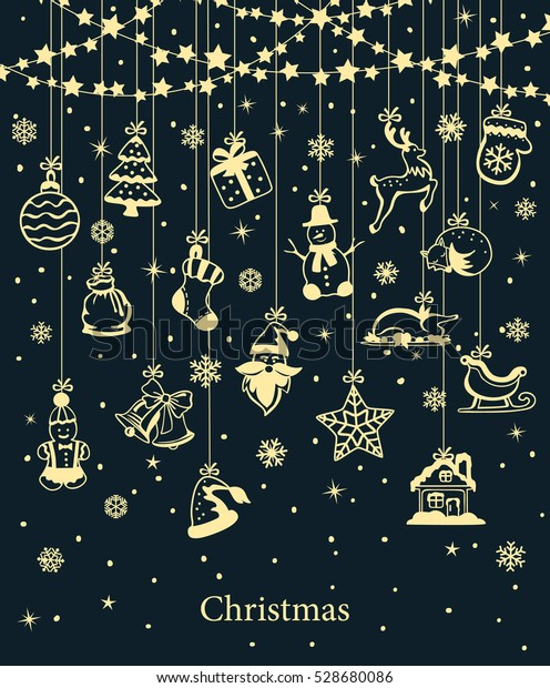 Merry Christmas and Happy New Year winter greeting card background with xmas decoration elements hanging on ropes on a stars garland dark blue and gold colors