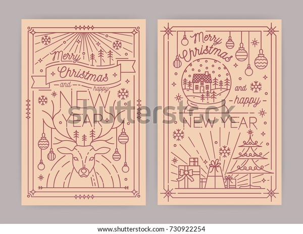 Merry Christmas and Happy New Year greeting card templates with festive decorations and holiday attributes drawn in line art style - deer, snowflakes, decorated spruce, gifts. Vector illustration.