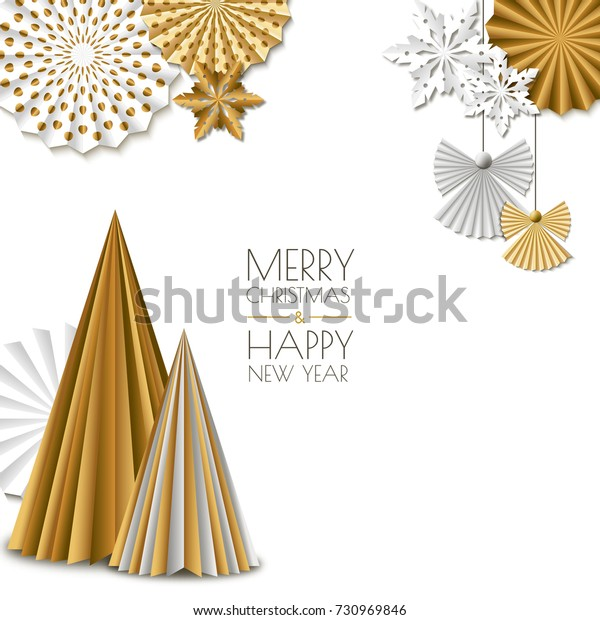 Merry Christmas, Happy New Year greeting card. Vector golden paper decoration snowflakes, christmas tree, angel. Background with place for text. Material design concept for banner, flyer, poster.