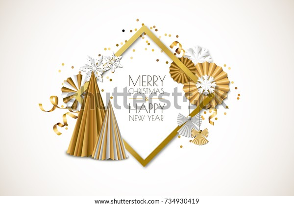 Merry Christmas, Happy New Year greeting card. Vector holiday gold isolated frame with golden paper stars, christmas tree, ribbons, angels and snowflakes. Material design for banner, flyer, poster.