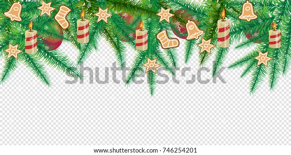 Merry Christmas and Happy New Year concept. Christmas decoration with Xmas tree branches vector illustration.
