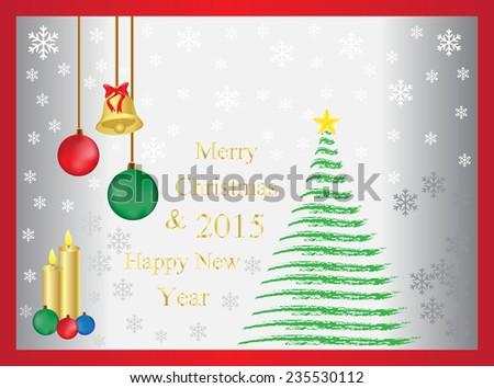 Merry Christmas Happy New Year 2015 Christmas Card Stock Vector ...